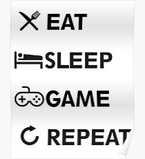Póster Eat Sleep GAME ¡Repita!