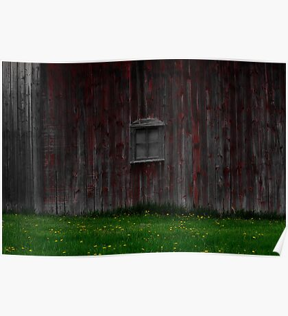 Red Barn Window Poster