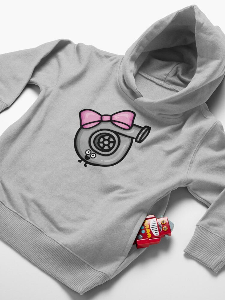 Alternate view of Cutest Turbo - Pink Bow Toddler Pullover Hoodie