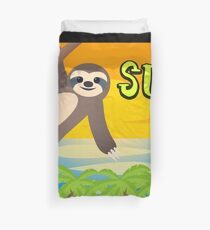 Sloth in the sun says sup Duvet Cover