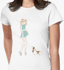 Kooky Fashion Girl with Basset Hound T-Shirt