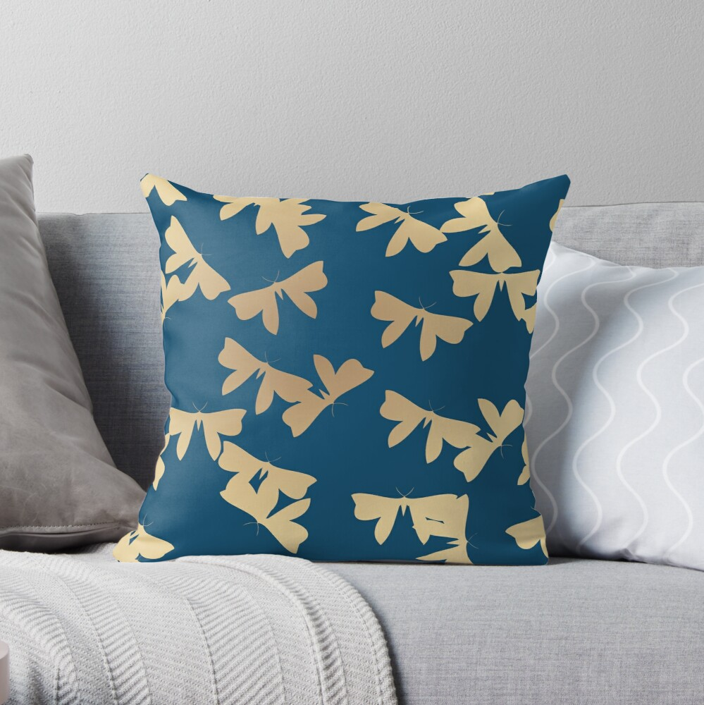 Moths - Gold on Blue Throw Pillow