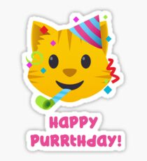 Happy Purrthday - Cute Cat Emoji Sticker