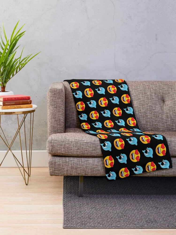 Alternate view of Love Dolphin Emoji JoyPixels Lovely Cute Funny Dolphins Throw Blanket