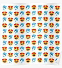Love Dolphin Emoji JoyPixels Lovely Cute Funny Dolphins Poster