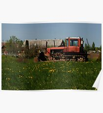 Spring in old farmstead (rural tractor) Poster