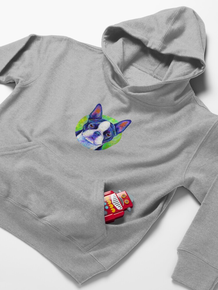 Alternate view of Effervescent - Colorful Boston Terrier Dog Kids Pullover Hoodie