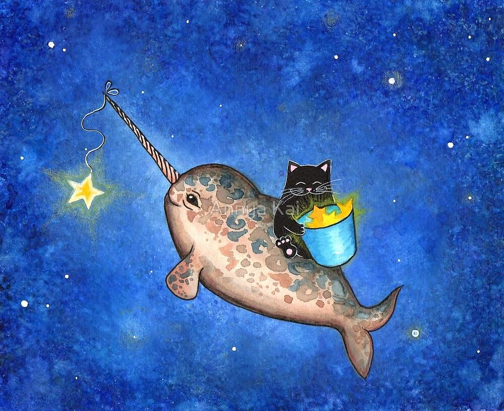 hanging stars with a friendly narwhal