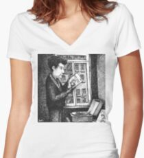 Bob Dylan discovering Robert Johnson Women's Fitted V-Neck T-Shirt