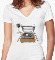 Dinner Music Women's Fitted V-Neck T-Shirt