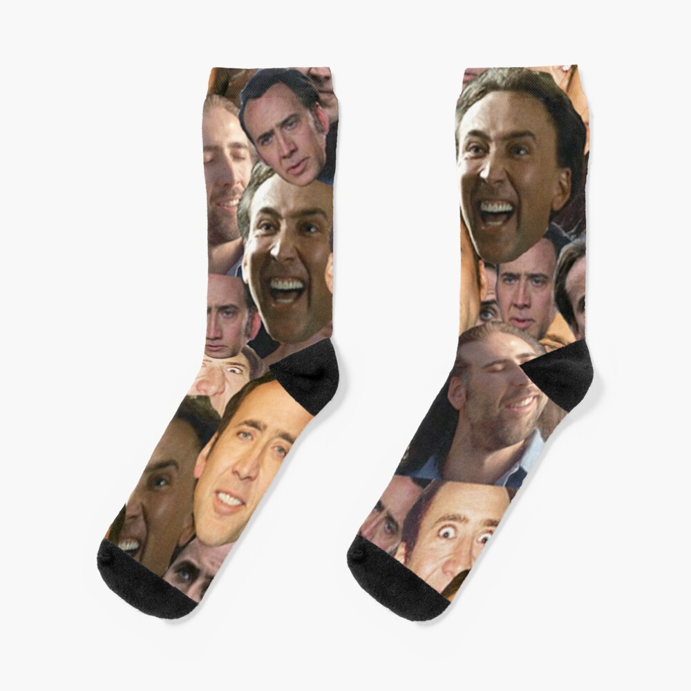 Nicolas Cage face collage t shirt Socks