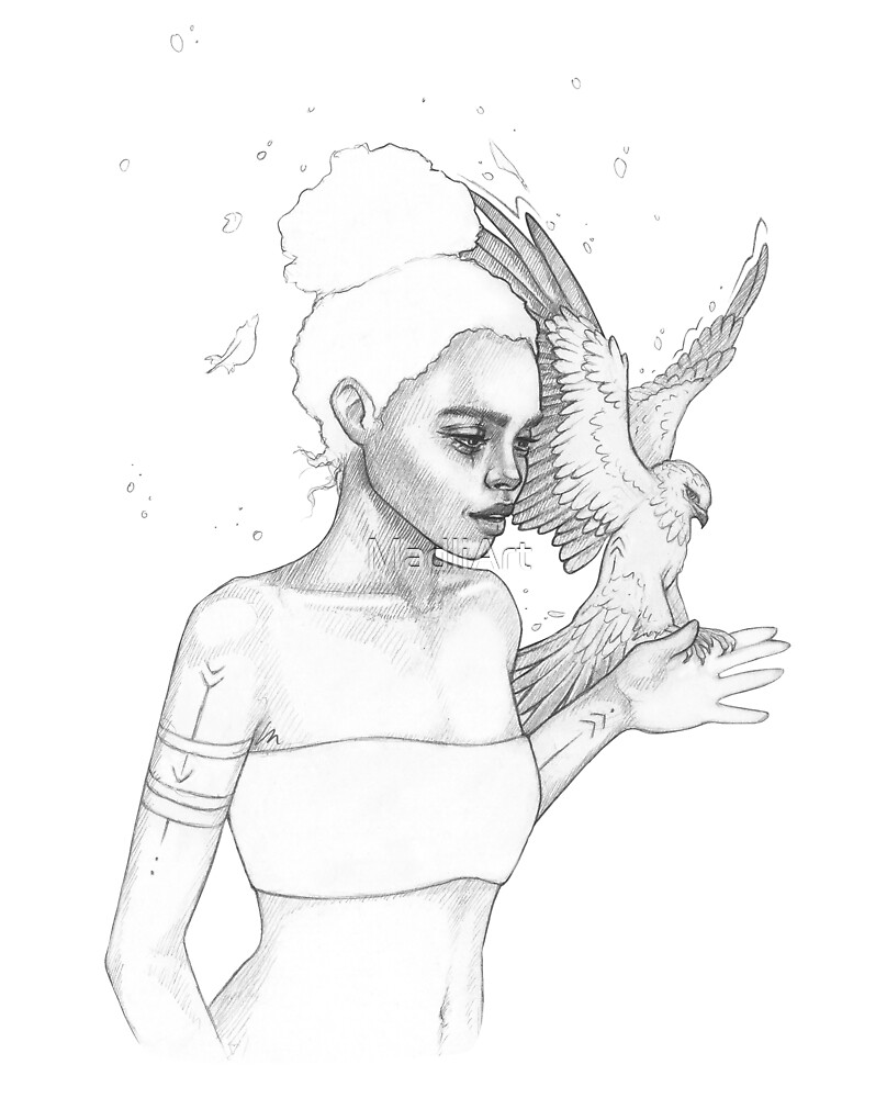 Girl and eagle by MadliArt