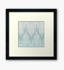Lace & Shadows - soft sage grey & white Moroccan doodle Framed Print