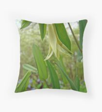 Perfoliate Bellwort Wildflower - Uvularia perfoliata Throw Pillow