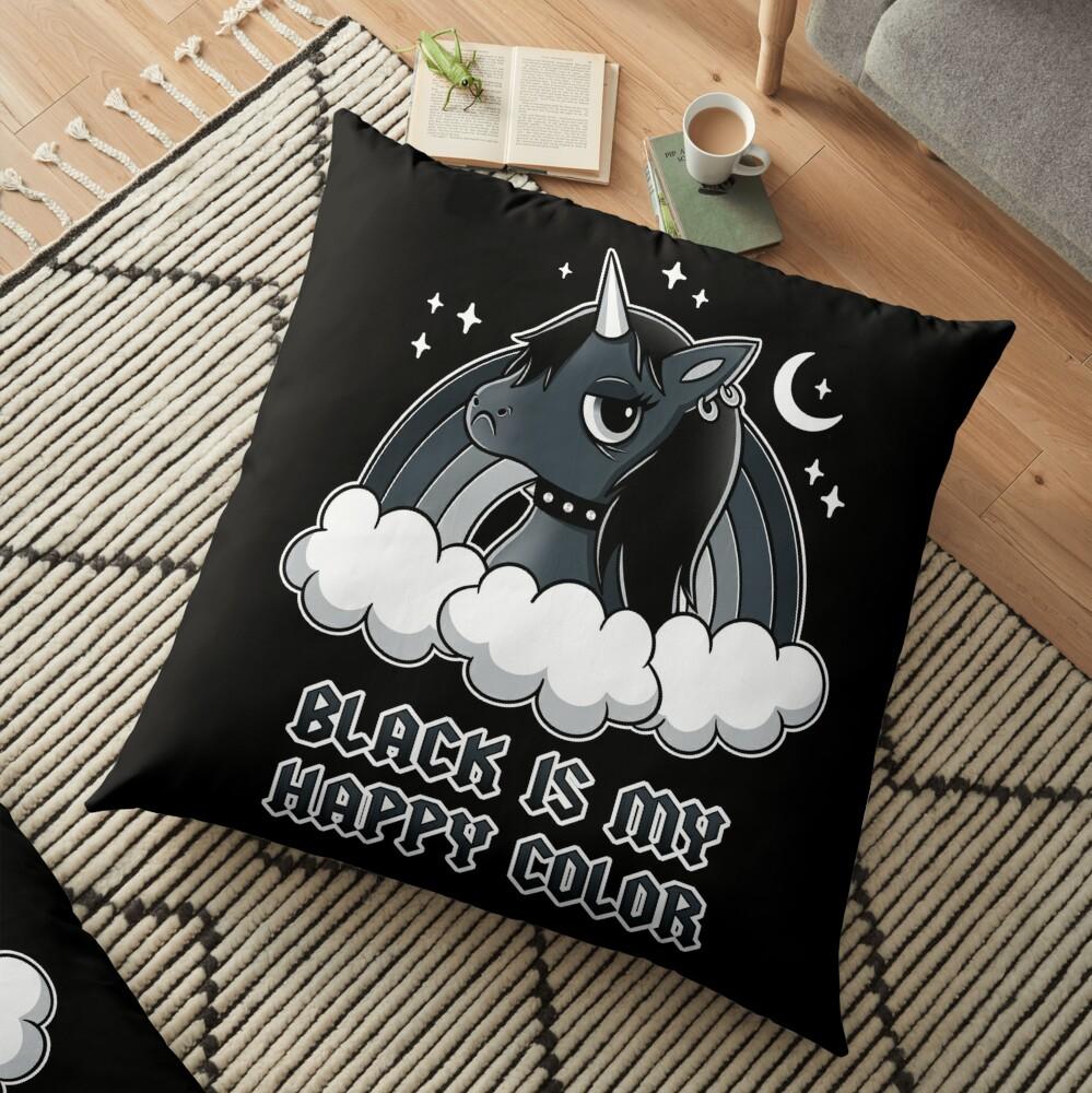 Black Unicorn Floor Pillow