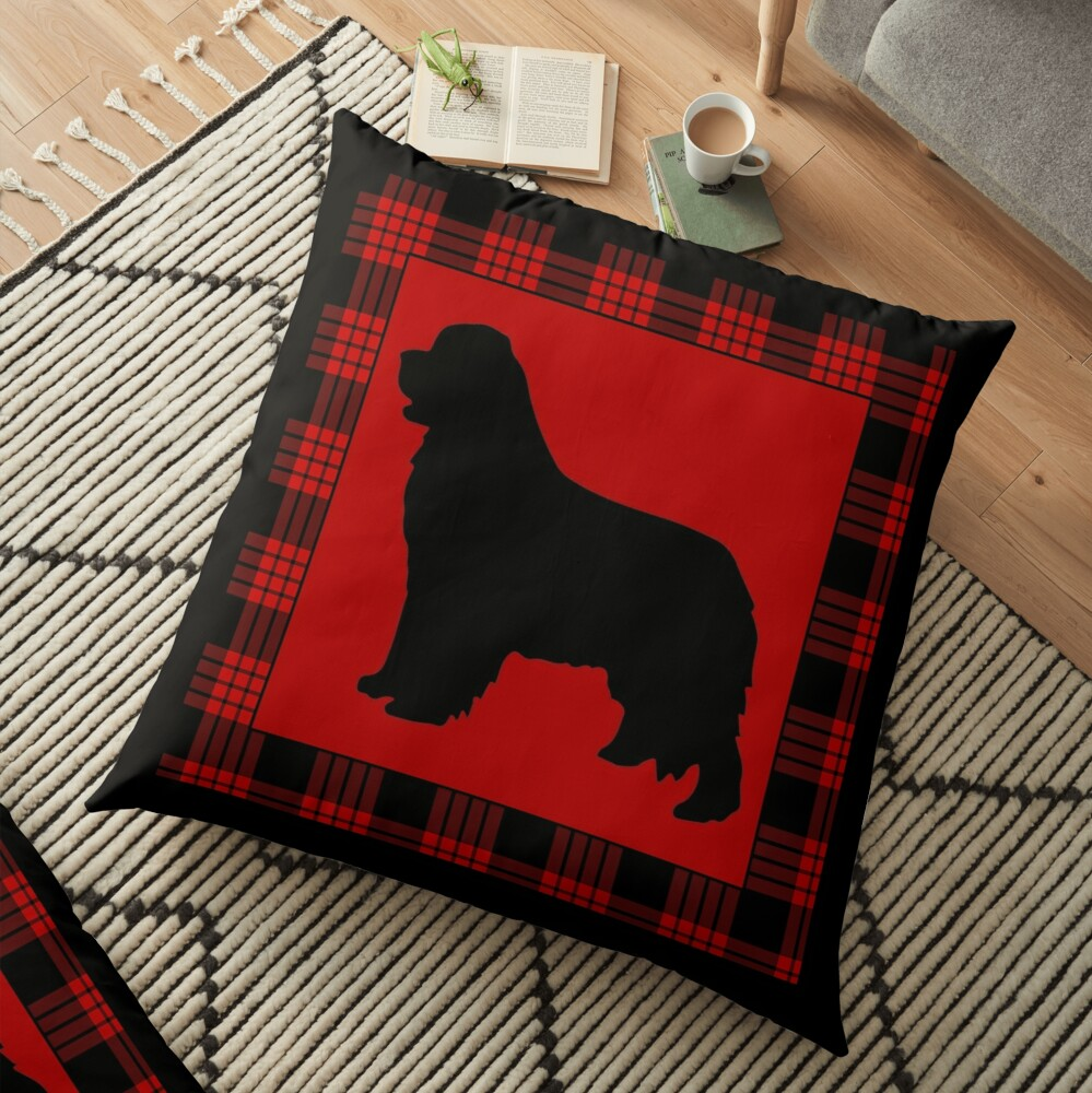 Red Plaid Newfie Floor Pillow