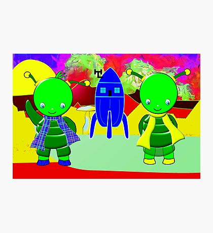 Green Alien Children Welcoming You to Their Home Photographic Print
