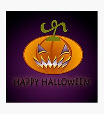 Scary Pumpkin on purple background. Photographic Print