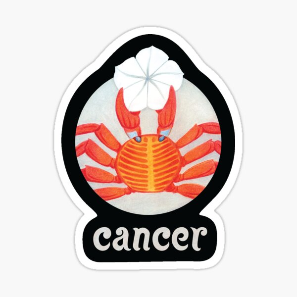 Zodiac Flower Circle with Hand Lettering - Cancer Crab Sticker