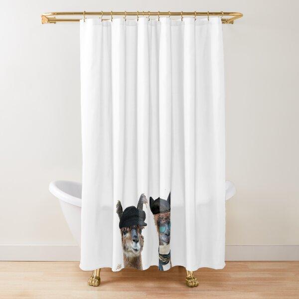 Best Friends Two Albacas Llamas Shower Curtain
