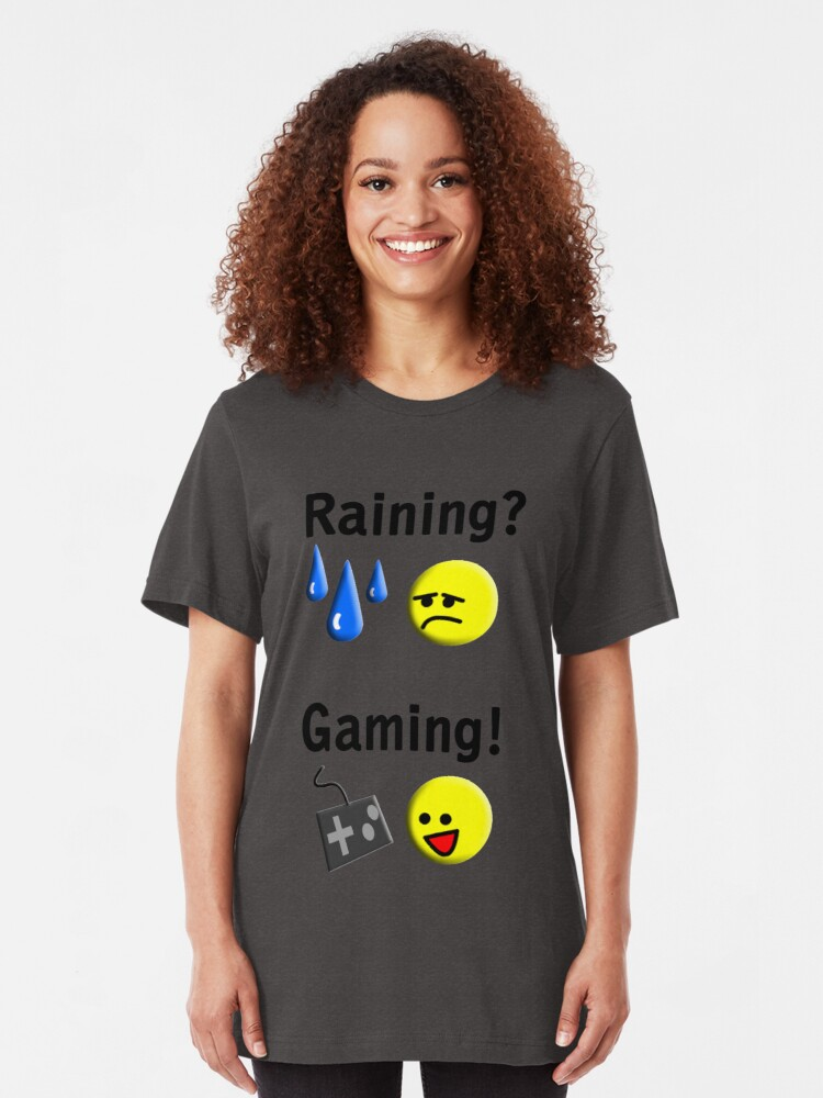 Alternate view of Raining = Gaming Slim Fit T-Shirt