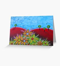 Flowers on red hills Greeting Card