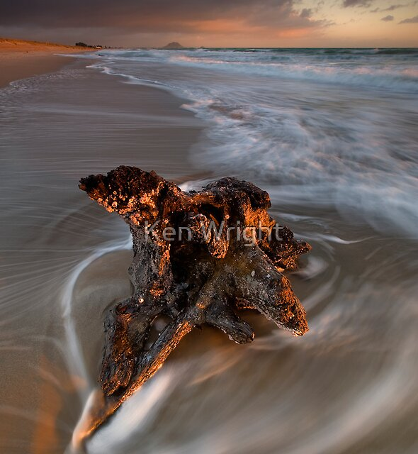 Papamoa anchored stump dawn by Ken Wright