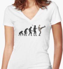 Evolution of Bean Women's Fitted V-Neck T-Shirt