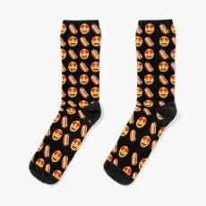 Love My Hot Dog Emoji JoyPixels Hotdog Cartoon Socks