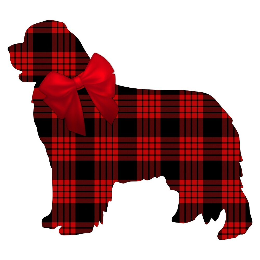 Red Plaid Newfie with Bow by Christine Mullis