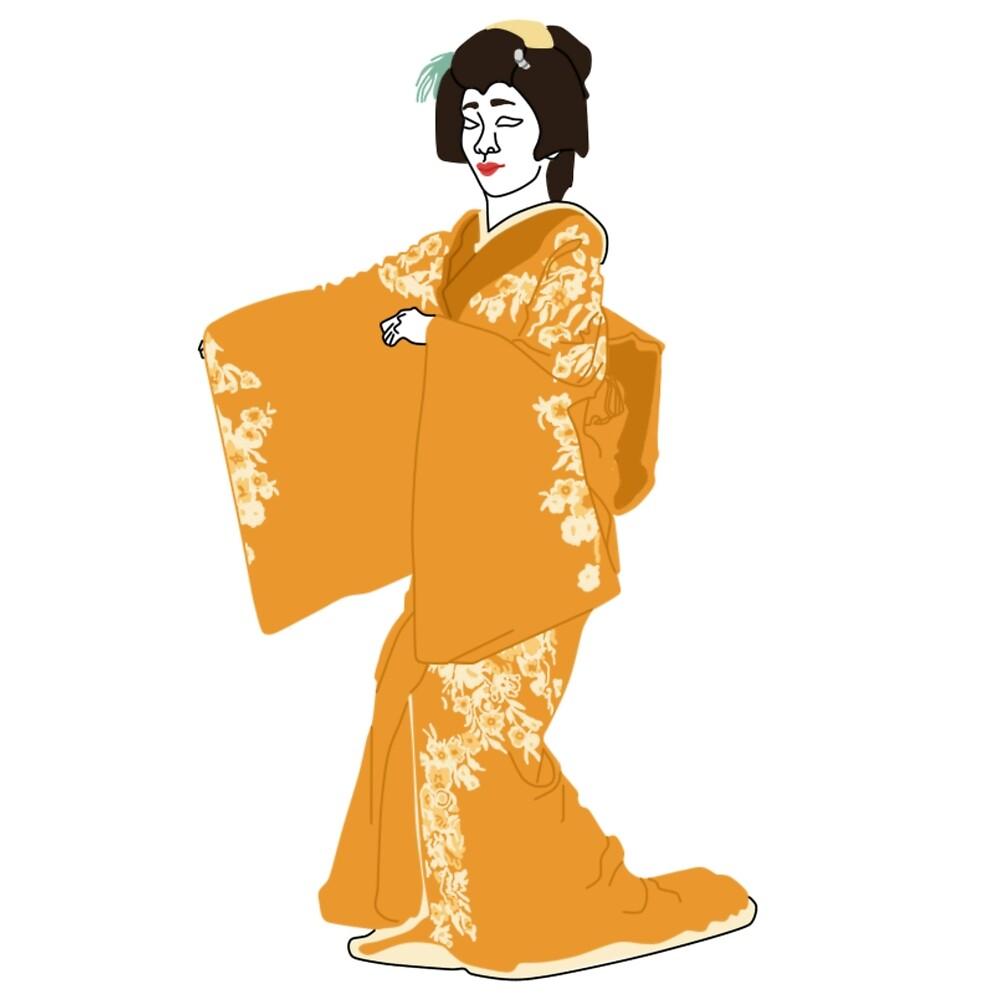Gardenia Kimono Motif by KHRArts
