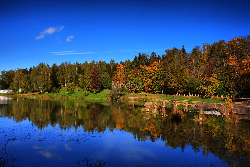 lake and forest in autumn by Medeu