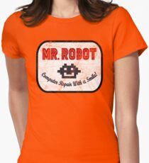 Mr Robot - Computer Repair With A Smile Womens Fitted T-Shirt