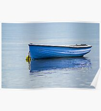 Fishing vessel, CY4Boat, Wooden, Rowing boat, Blue, Anchored Poster