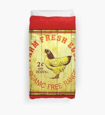 FARM FRESH EGGS: Vintage Advertising Print Duvet Cover