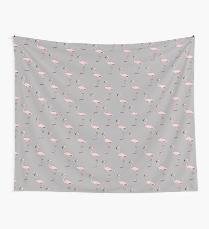 Flamingos on grey Wall Tapestry