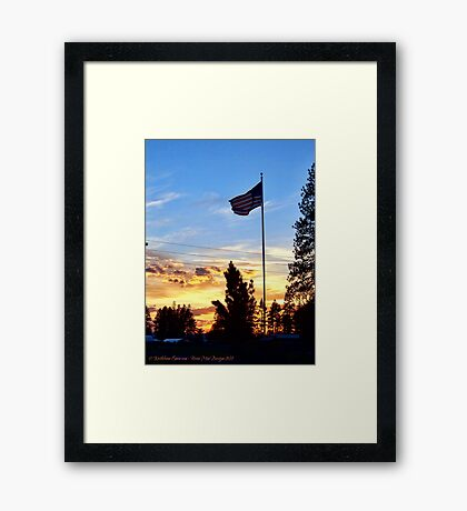 Old Glory Sunset Framed Print