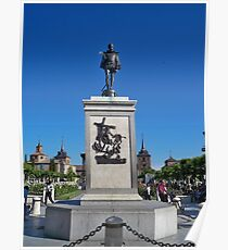 Statue of Miguel de Cervantes, Cervantes Plaza, Alcala de Henares, Madrid, Spain Poster
