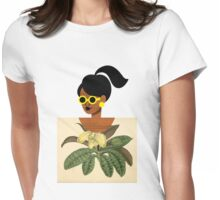 Ponytail Girl with Nature Shirt Womens Fitted T-Shirt