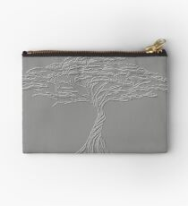 Silver Tree of Life , Zen African Bonsai Grey Zipper Pouch