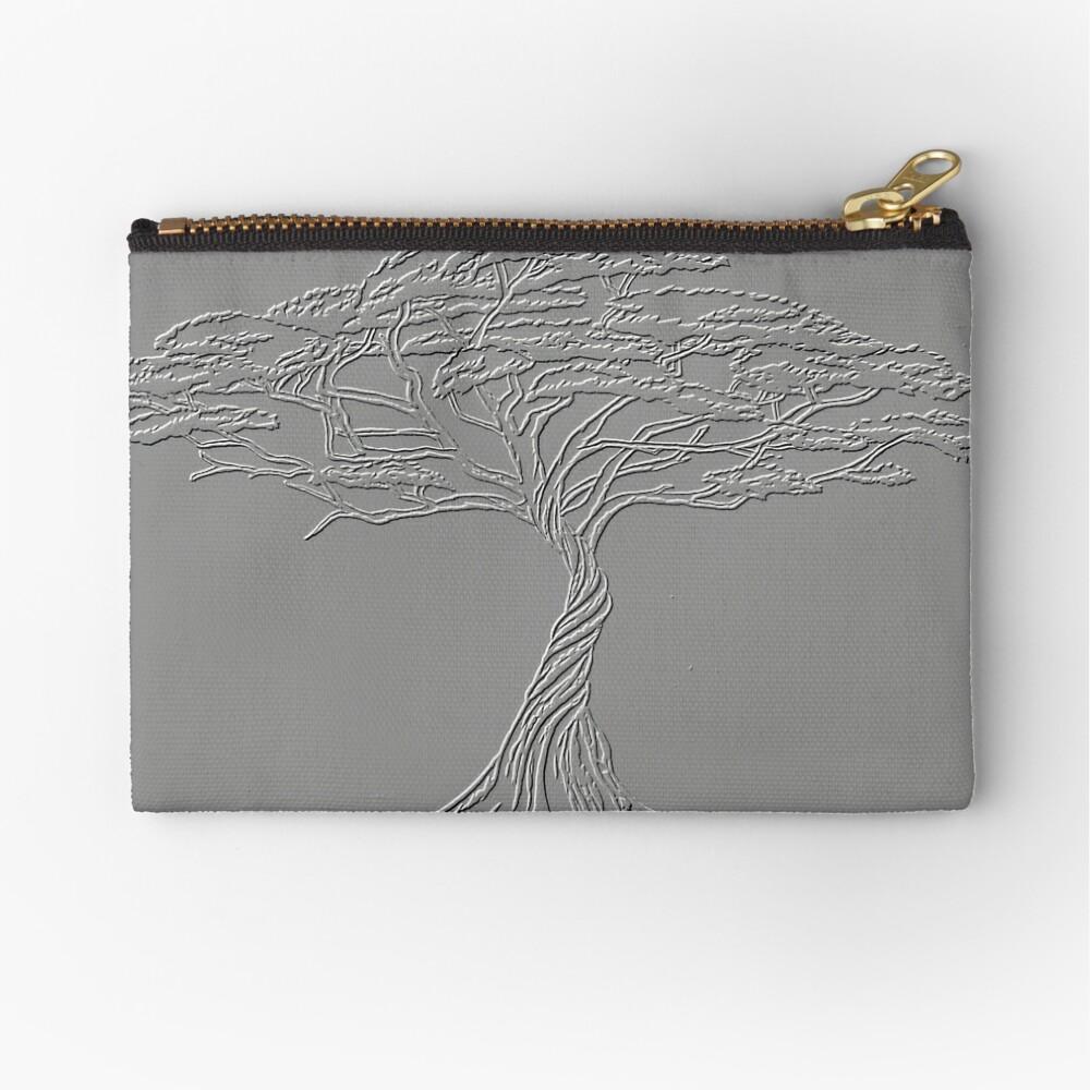 Silver Tree of Life , Zen African Bonsai Grey Zipper Pouch