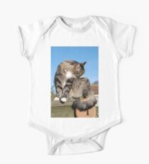 Tabby cat cleaning fur Kids Clothes