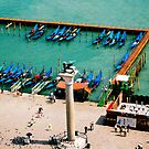 Gondolas from above, Venice, Italy by Elana Bailey