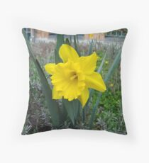 yellow blume Throw Pillow