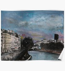 Postcards from Paris - Evening by The Seine Poster