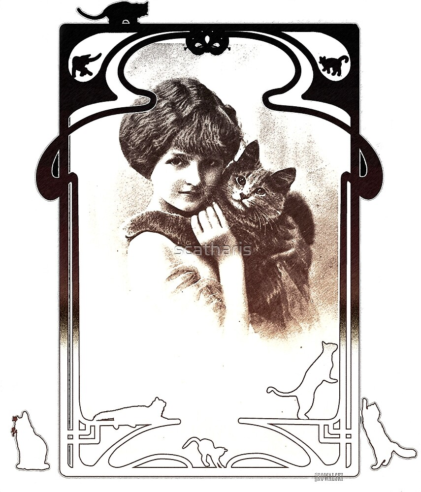 Vintage ~Young Lady with cat~ by scatharis