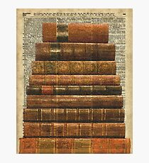Rustic Old Books Stack on a Vintage Dictionary Page Background Photographic Print