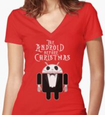 The Android Before Christmas  Women's Fitted V-Neck T-Shirt