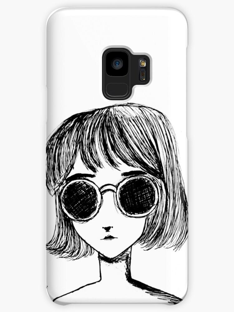 Retro Black and White Sunglasses Girl by fayeemily
