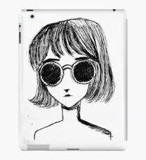 Retro Black and White Sunglasses Girl iPad Case/Skin